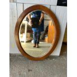 Wooden Oval Framed Mirror