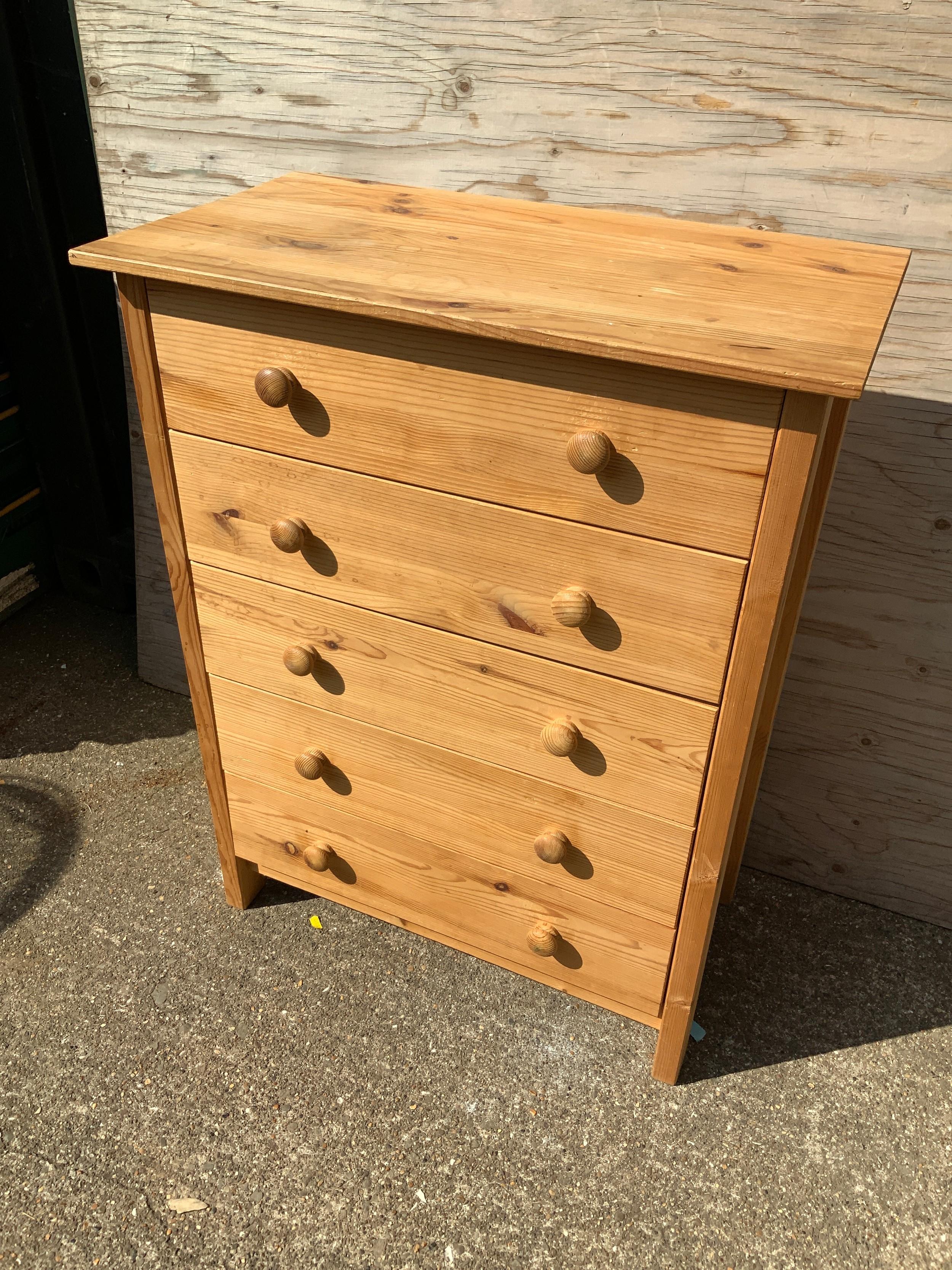 Pine Chest of Drawers - 72cm W x 40cm D x 94cm H
