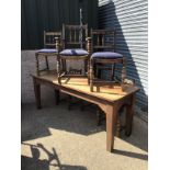 Oak Table with 6x Chairs including 2x Carvers - 206cm W x 68cm D x 79cm H