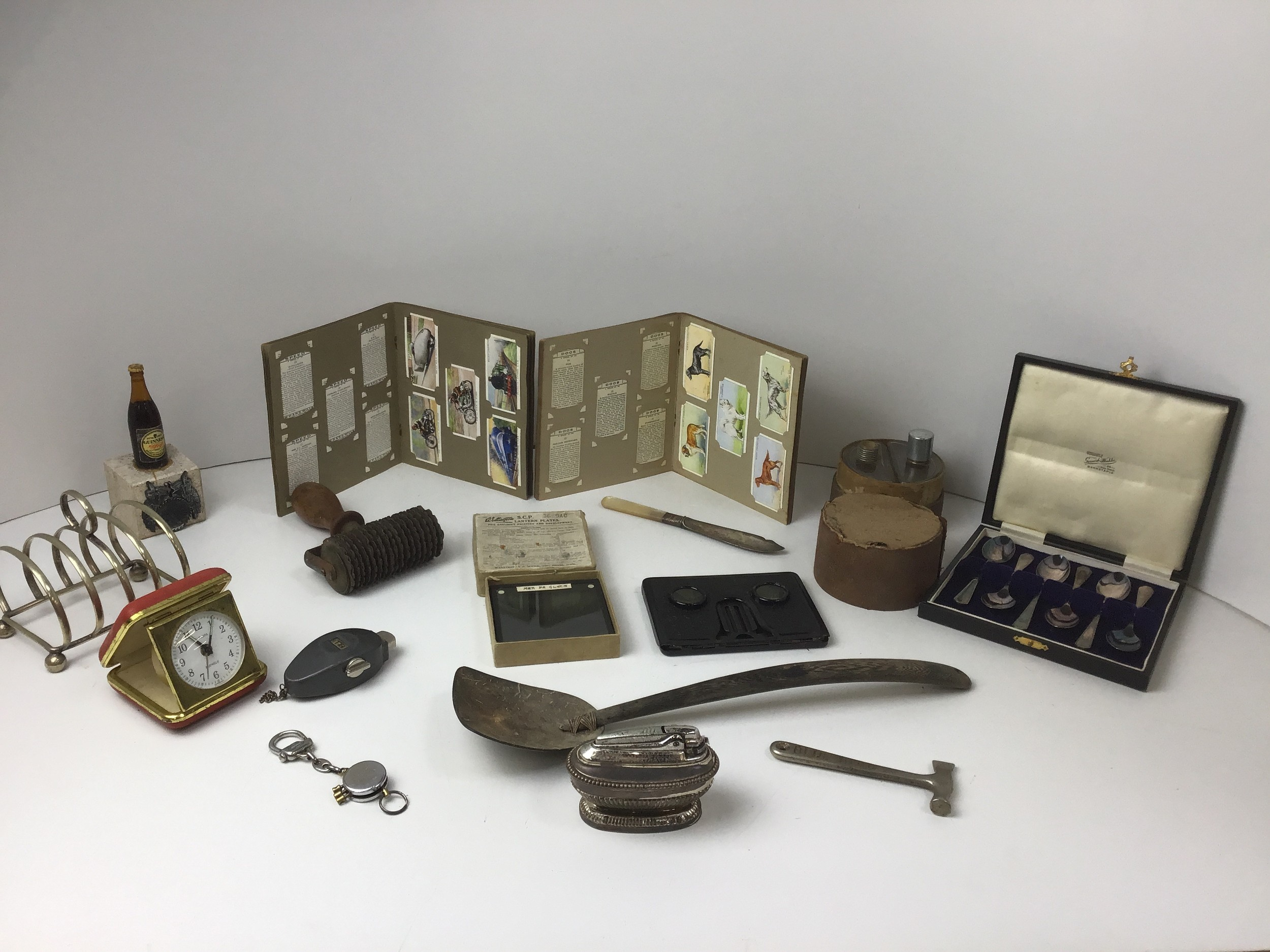 Collectables - Tea Cards, Plated Tea Spoons, Magic Lantern Slides, Stereo Folding Viewer and Table