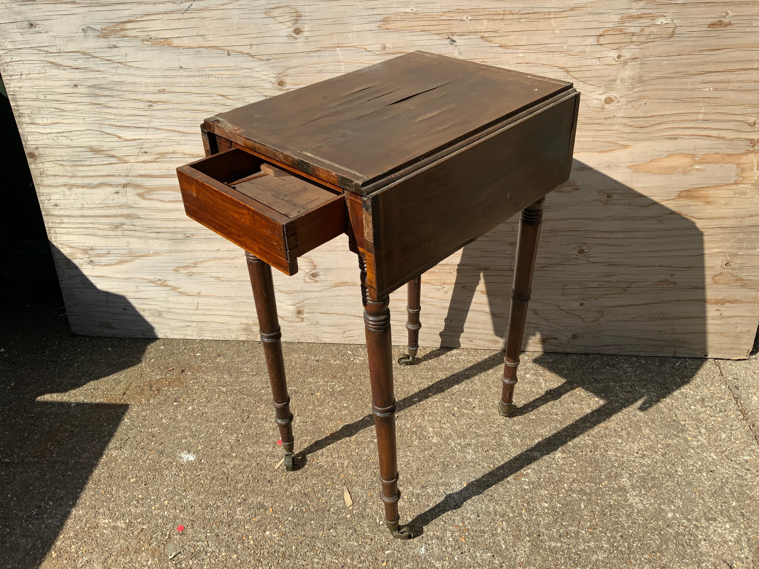Georgian Drop Flap Sewing Table on Castors for Restoration - Image 2 of 2