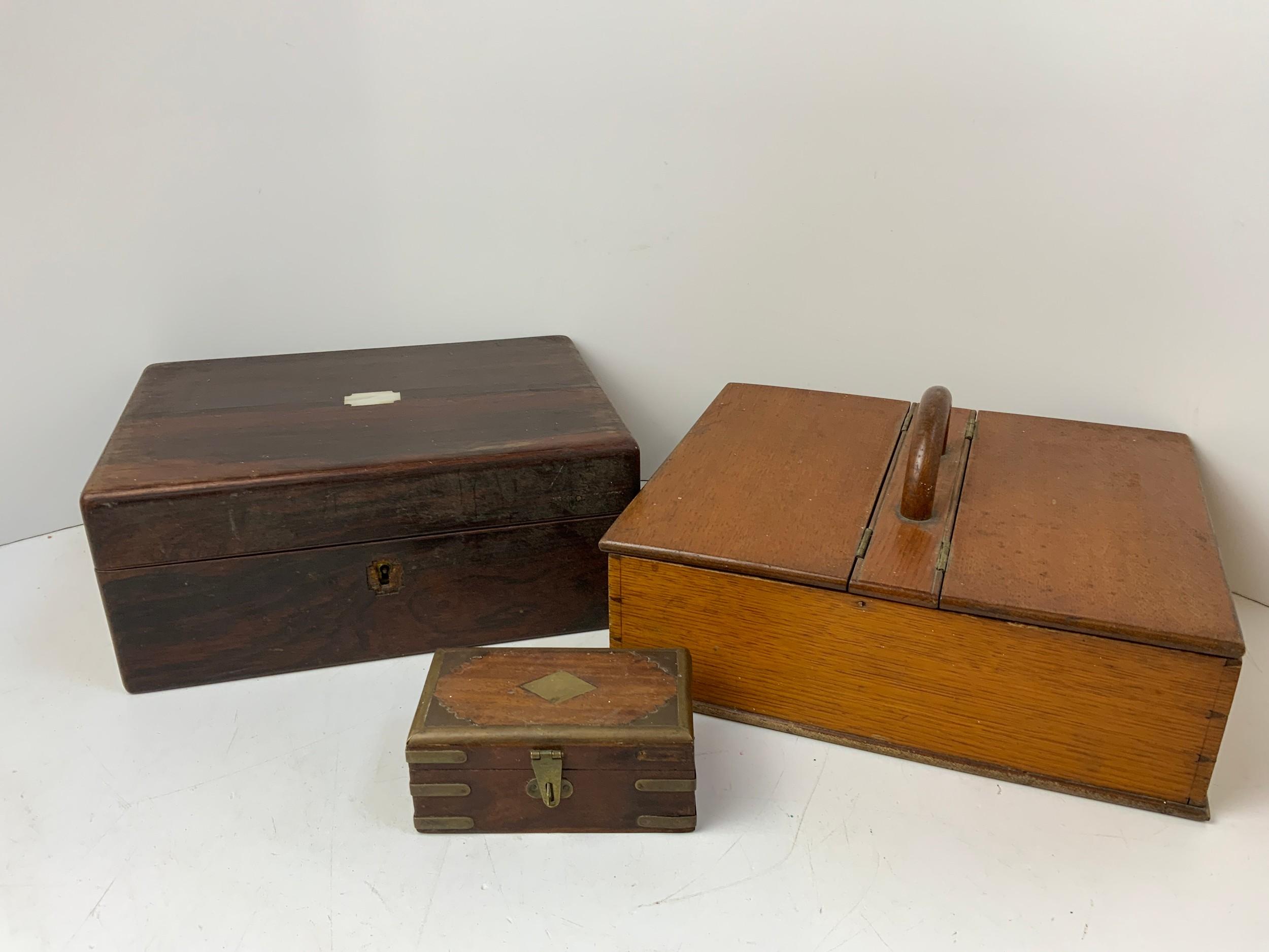 Oak Cutlery Box, Brass Bound Trinket Box and Ebony Writing Box for Restoration