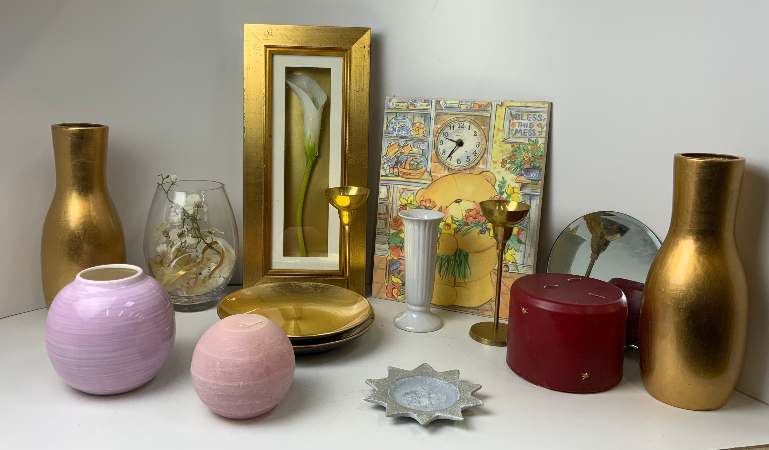 Candles, Vases and Clock etc