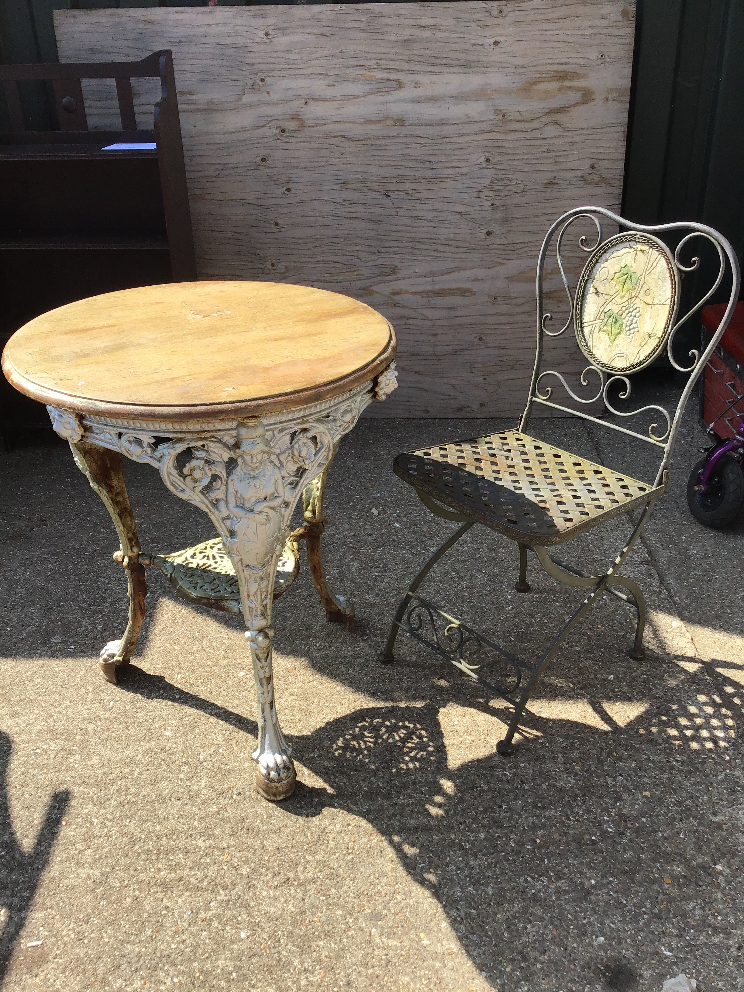Metal Chair and Cast Iron Table with Pine Top
