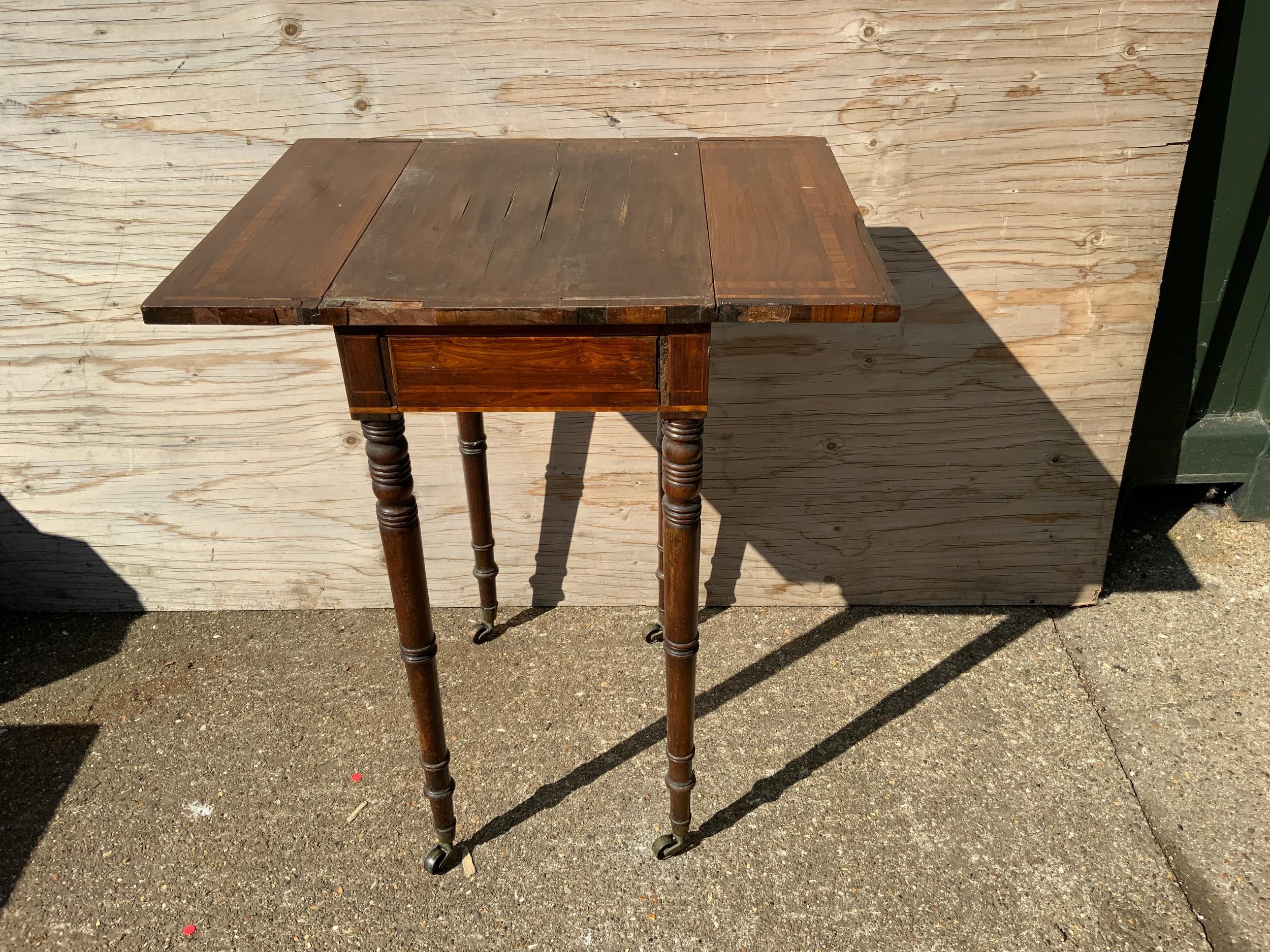 Georgian Drop Flap Sewing Table on Castors for Restoration