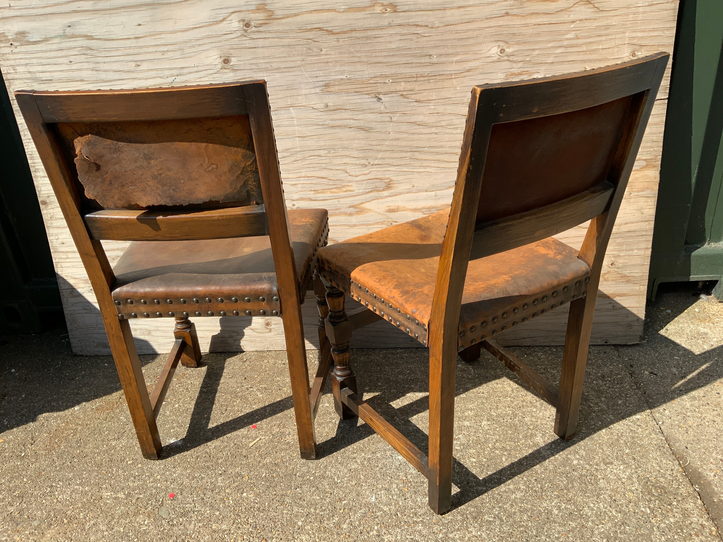 Pair of Oak Leather Covered Roseback Brass Studded Chairs - Image 2 of 2