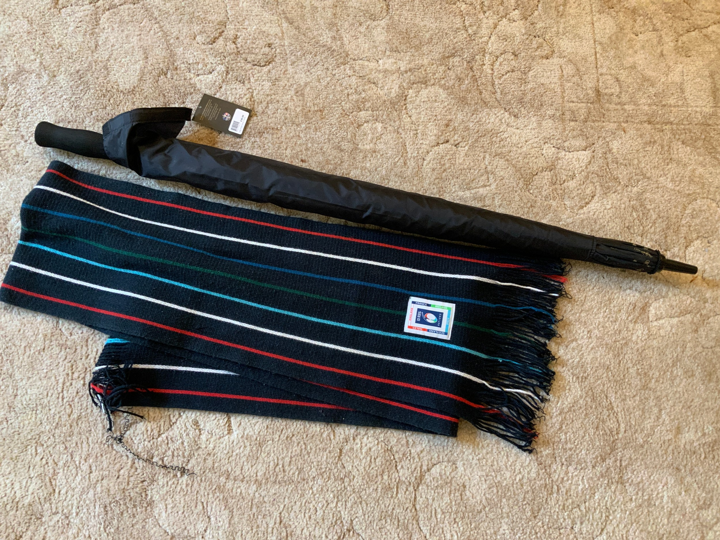 Ryder Cup Umbrella and Rugby Scarf
