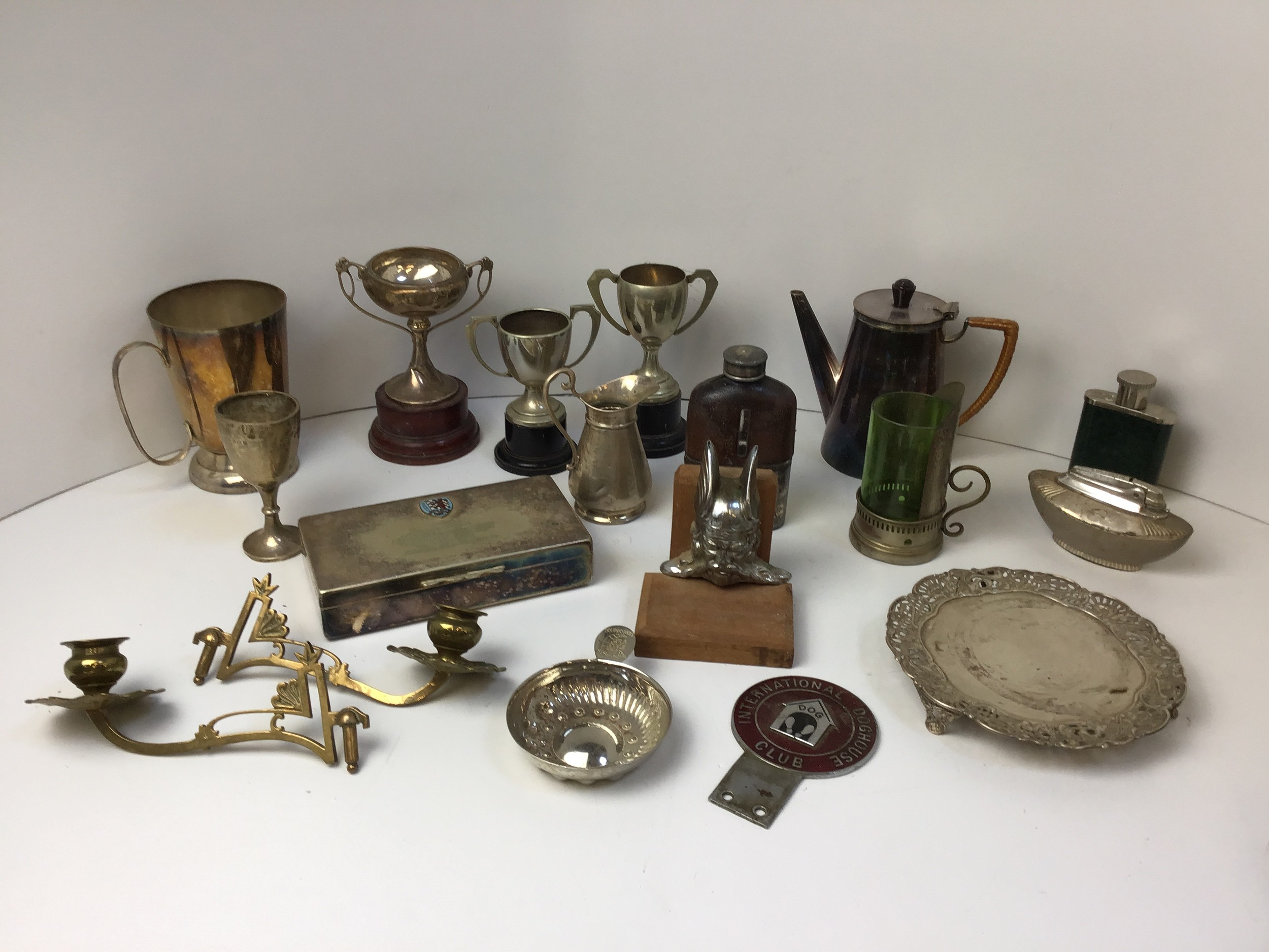 Metalware - Trophies, Hip Flasks and Table Lighter etc