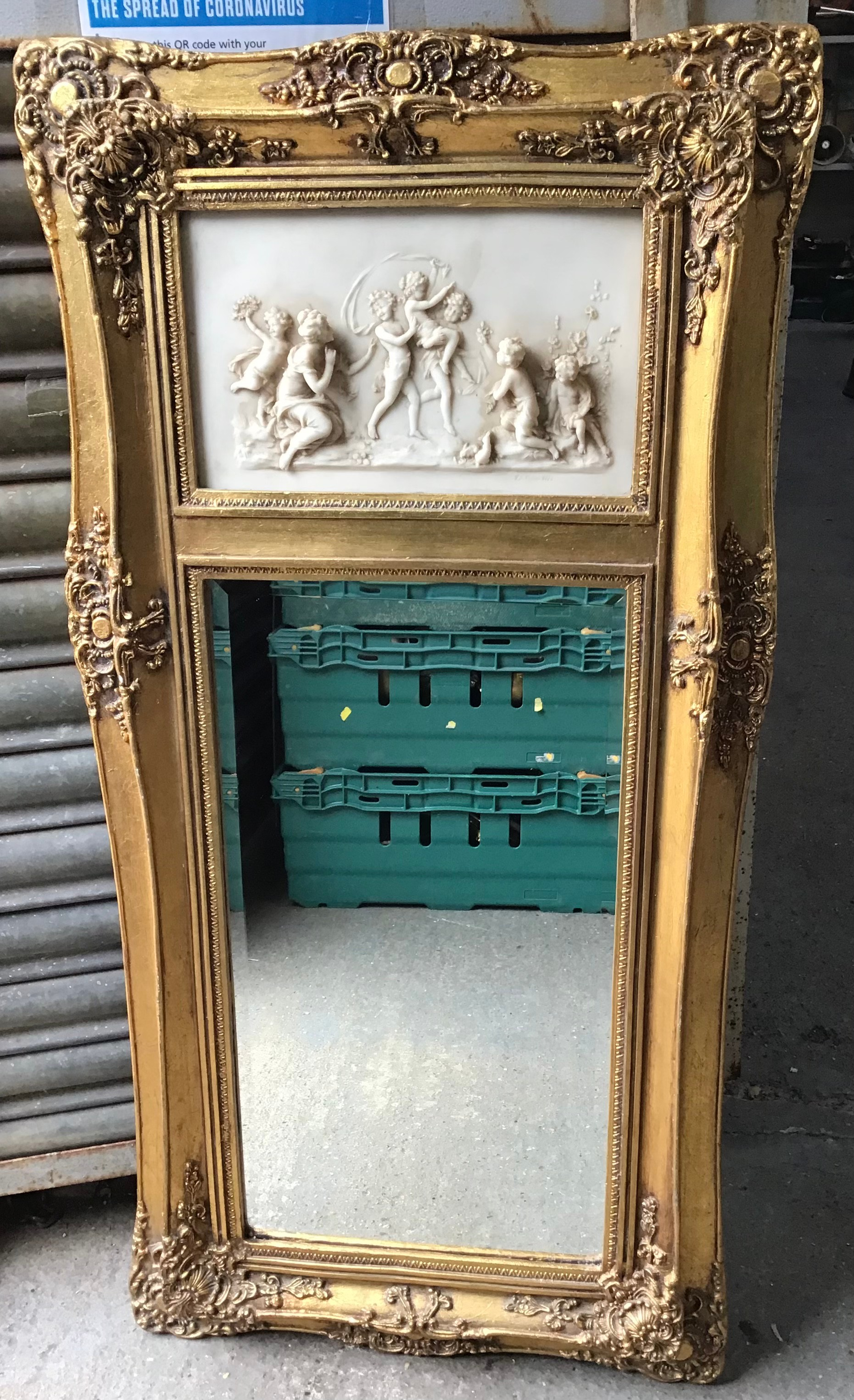 Vintage Gilt Ornately Framed Mirror - 52cm W x 108cm H