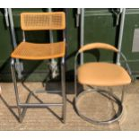 Low Leatherette Stool and High Back Wicker/Metal Stool
