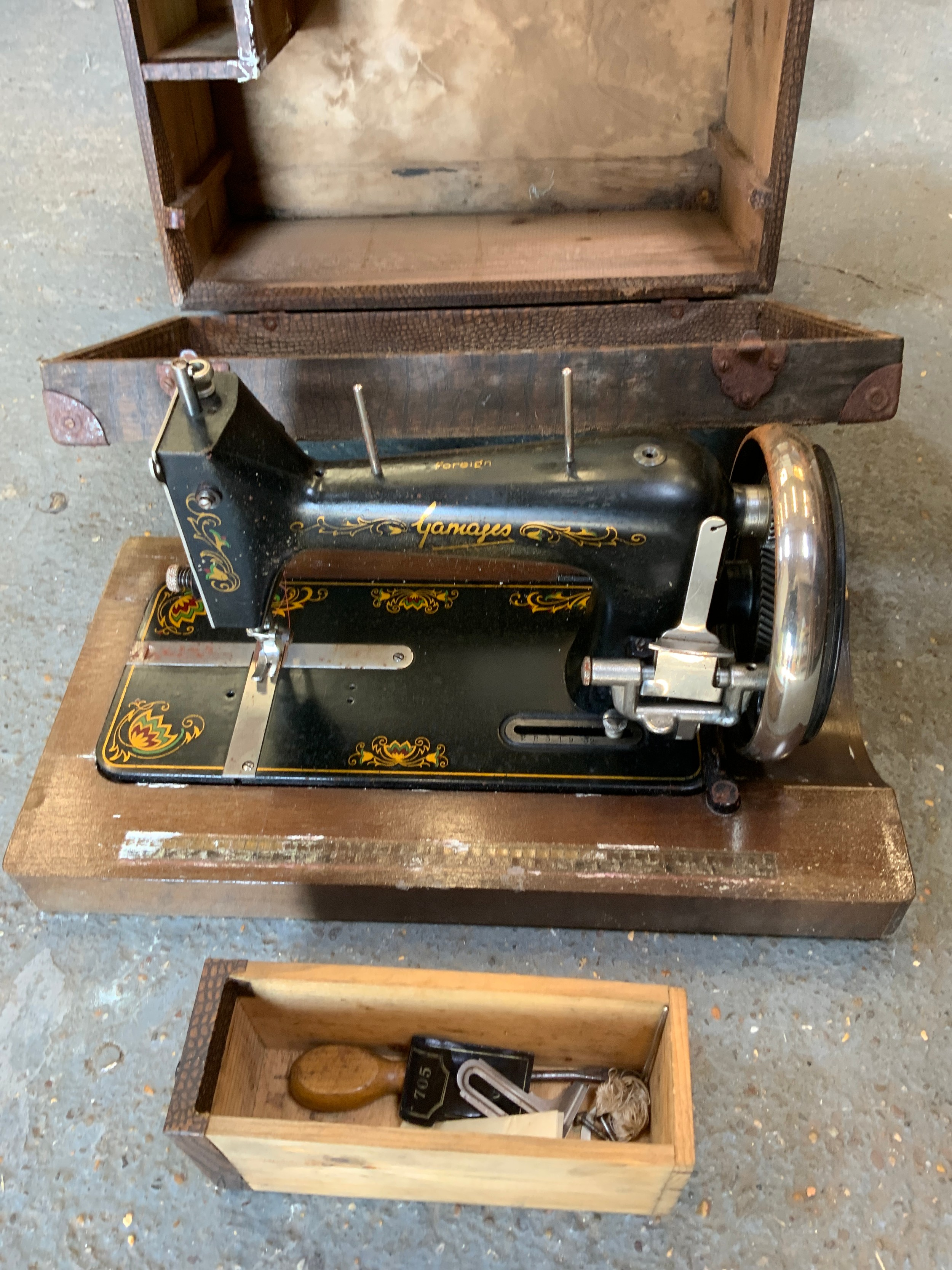 Gamages Sewing Machine in Case