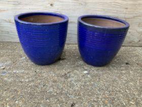 Blue Glazed Planters - 26cm H