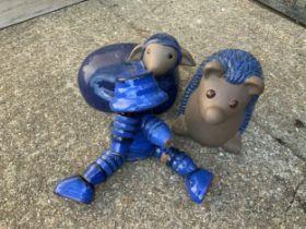Blue Glazed Garden Hedgehog, Sheep and Pot Man