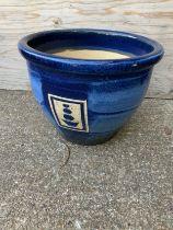 Blue Glazed Planter - 35cm H