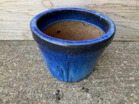 Blue Glazed Planter - 23cm H