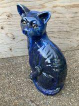 Blue Glazed Cat - 49cm H
