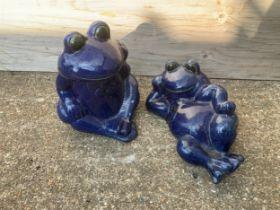 2x Blue Glazed Frogs