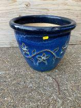 Blue Glazed Planter - 30cm H