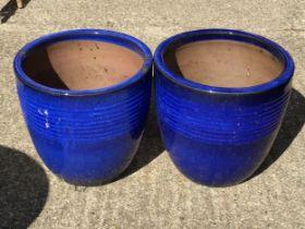 Pair of Glazed Planters - H32cm