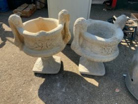 Pair of Concrete Garden Pedestal Planters