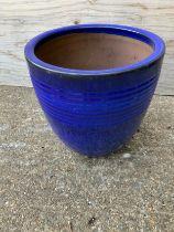 Blue Glazed Planter - 31cm H