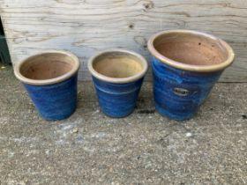 3x Blue Glazed Graduating Planters
