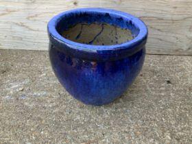Blue Glazed Planter - 32cm H