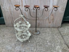 Wire Basket and Candle Holder