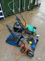 Electric Lawn Mower and Rake