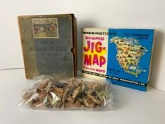 2x Wooden Jigsaw Puzzles with Shaped Pieces - North America and Dogs, Chad Valley GWR Wooden