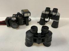 Akita Camera with Flash Gun and 2x Pairs of Binoculars