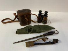 Bayonet, Sharpening Steel and Military Binoculars etc