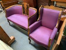 Edwardian Inlaid Sofa and Armchairs