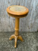 Circular Side Table with Glass Top - 81cm High x 30cm Diameter