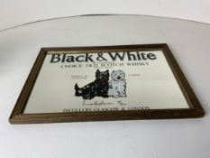 Framed Black and White Whisky Mirror