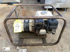 Petrol driven cradle mounted Generator, 2.2kva, 110volts/240volts (please note this lot has a lift
