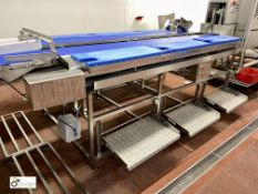 Twin lane manual Filleting Table, with 2 central conveyors 330mm wide x 4100mm long, 6 manual