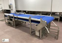 Water Spray Conveyor System, 3850mm x 895mm wide, with 15-nozzle spray unit, collection tank,