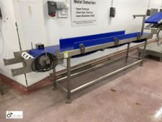LAC stainless steel powered modular Conveyor, belt width 455mm, belt length 3450mm, year 2017,