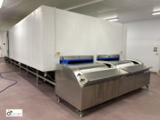 Torry twin lane Freezer comprising twin solid band stainless steel belts, 1500mm belt width, 11.3m
