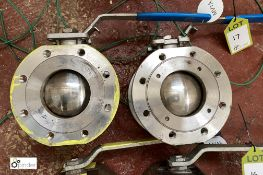 2 Butterfly Valves, 96mm diameter approx. (LOCATION: Boston Spa)