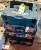 3 Bosch stackable Power Tool Boxes and Makita Power Tool Box (LOCATION: Boston Spa)