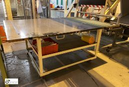 Steel fabricated mobile Cutting Table, with roll s