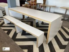 White Refectory Table, 2400mm x 800mm x 800mm, with 3 benches (located in Restaurant)