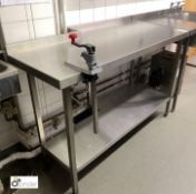 Shaped stainless steel Preparation Table, 1380mm x 630mm x 900mm with undershelf and Bonzer