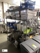 Large quantity Cooking Pots, Oven Trays, Utensils, etc, to rack (located in Kitchen)