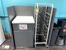 Waste Station comprising bin cupboard, mobile tray trolley and housing (located in Restaurant)