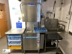 Meiko DV80-2 single tray Commercial Dishwasher, with wash down sink and tray storage unit (located