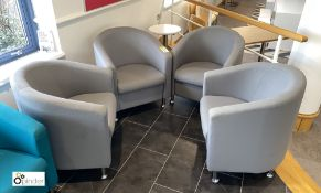 4 upholstered Tub Chairs, grey (located in Restaurant)