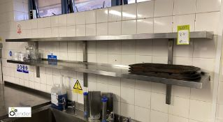 2 stainless steel wall mounted Shelves, 2400mm x 300mm (located in Kitchen)